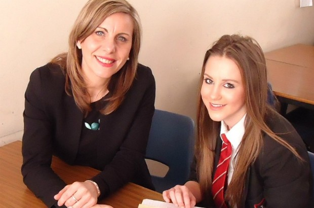 Emma Thom with student