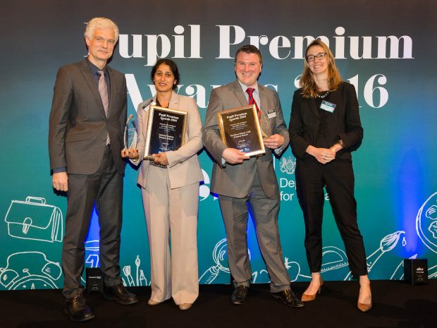Steve Williams receiving Northern Saints' joint 2016 Pupil Premium Award with Edward Pauling School