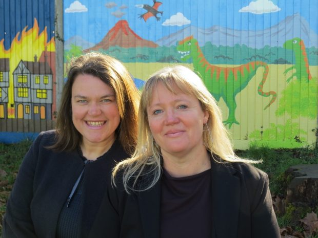 Alison Fitch and Rebecca Stacey posing in Boxgrove Primary School