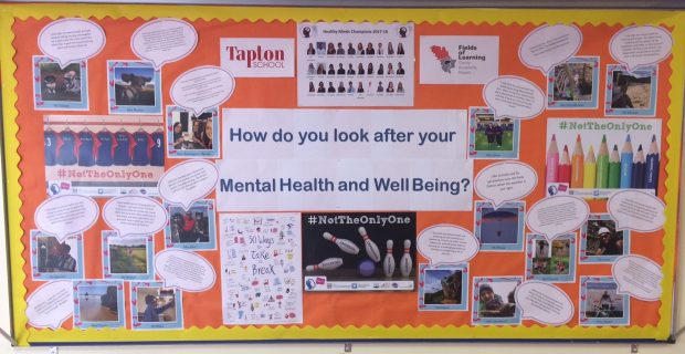 School noticeboard sharing tips for good mental health