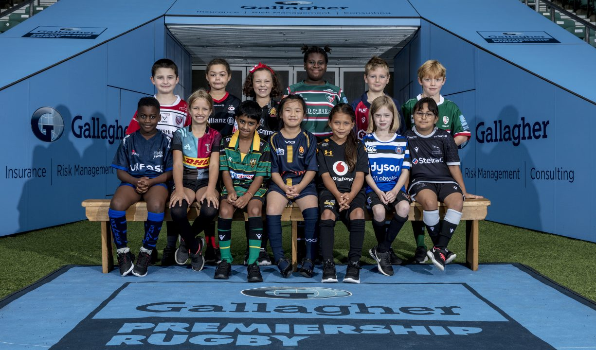 Children posing at Premiership Rugby launch at Twickenham Stadium