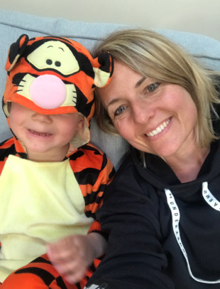 Emma Turner and her child in a Tigger onesie