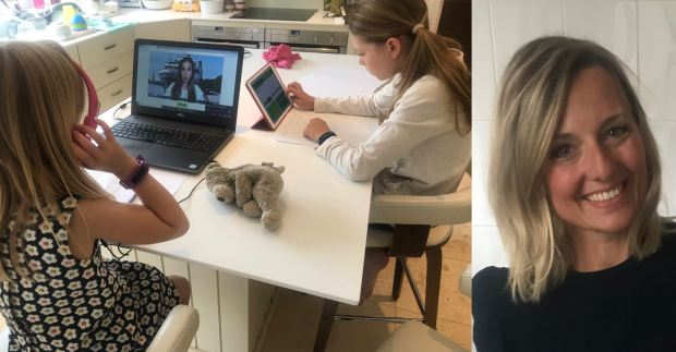 Emma's daughters learning from home