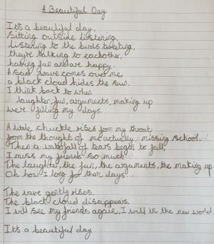Picture of the winning poem 'beautiful day'